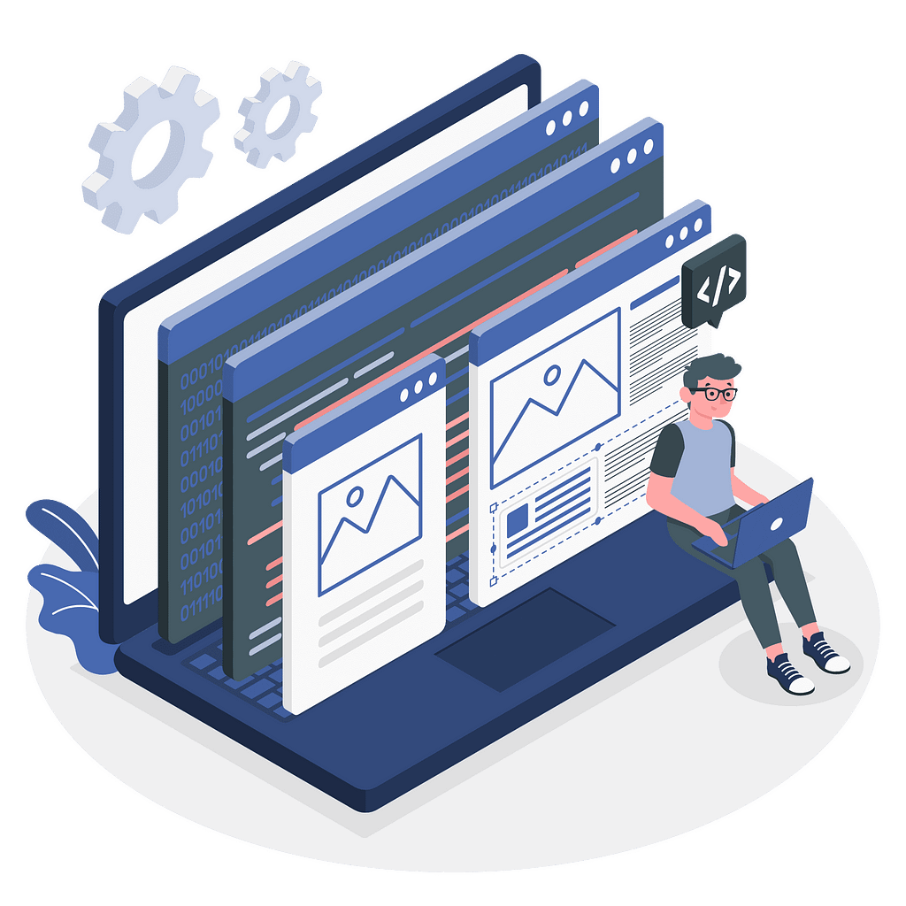 Developer coding the landing page