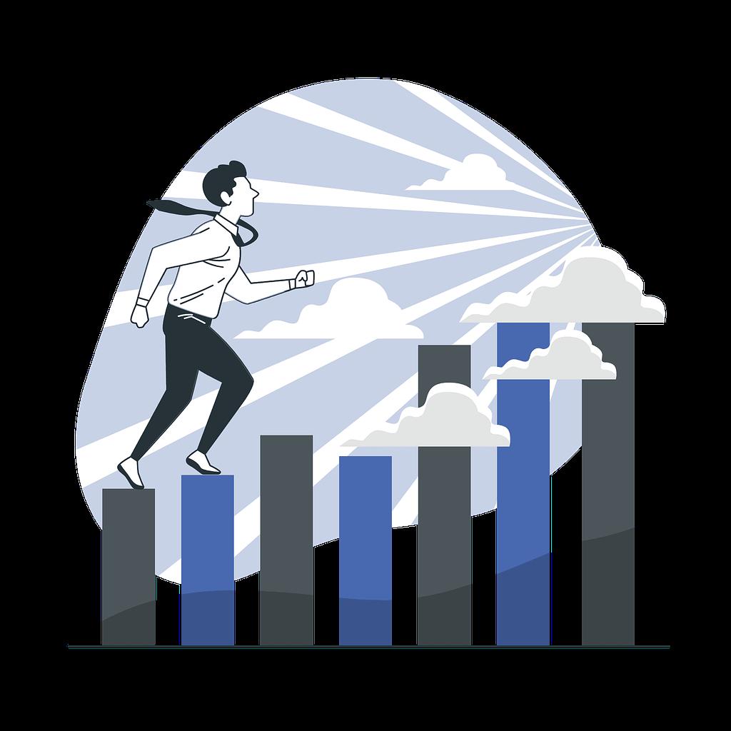 businessman moving forward towards his vision vector illustration