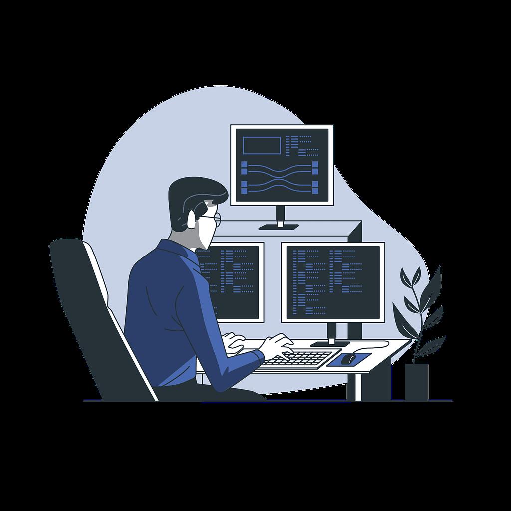 Web developer working on new website