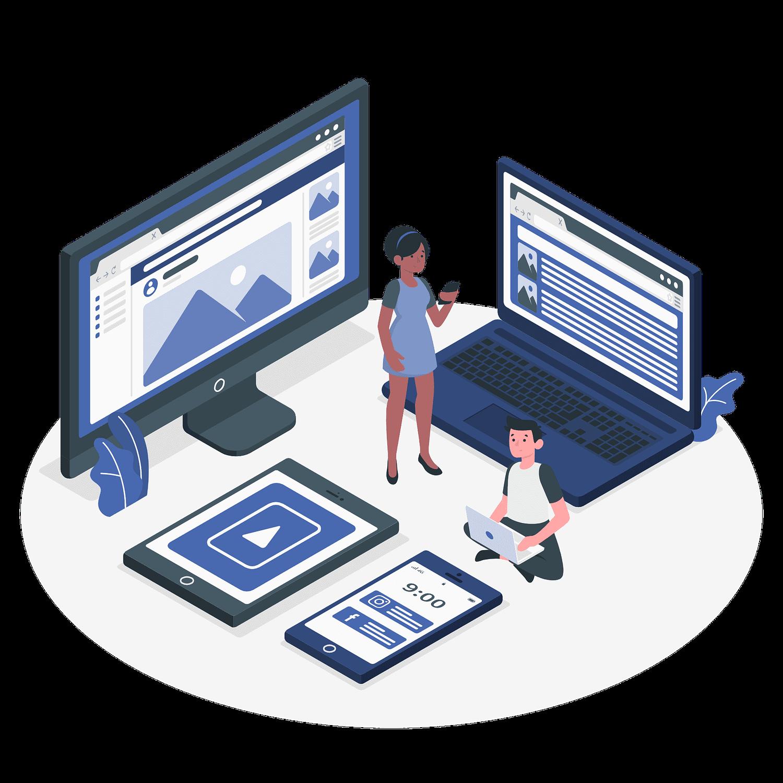 Website review concept vector illustration