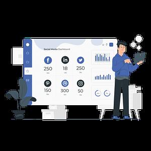 Marketer checking on social media campaign performance vector illustration
